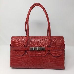 Handbags - Red Leather Faux Crocodile Shoulder Bag